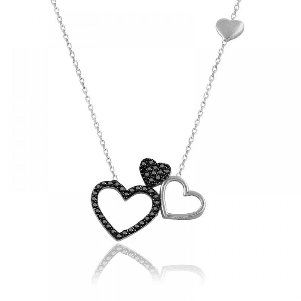 Siyah Üçlü Kalp Beyaz Gümüş Kolye