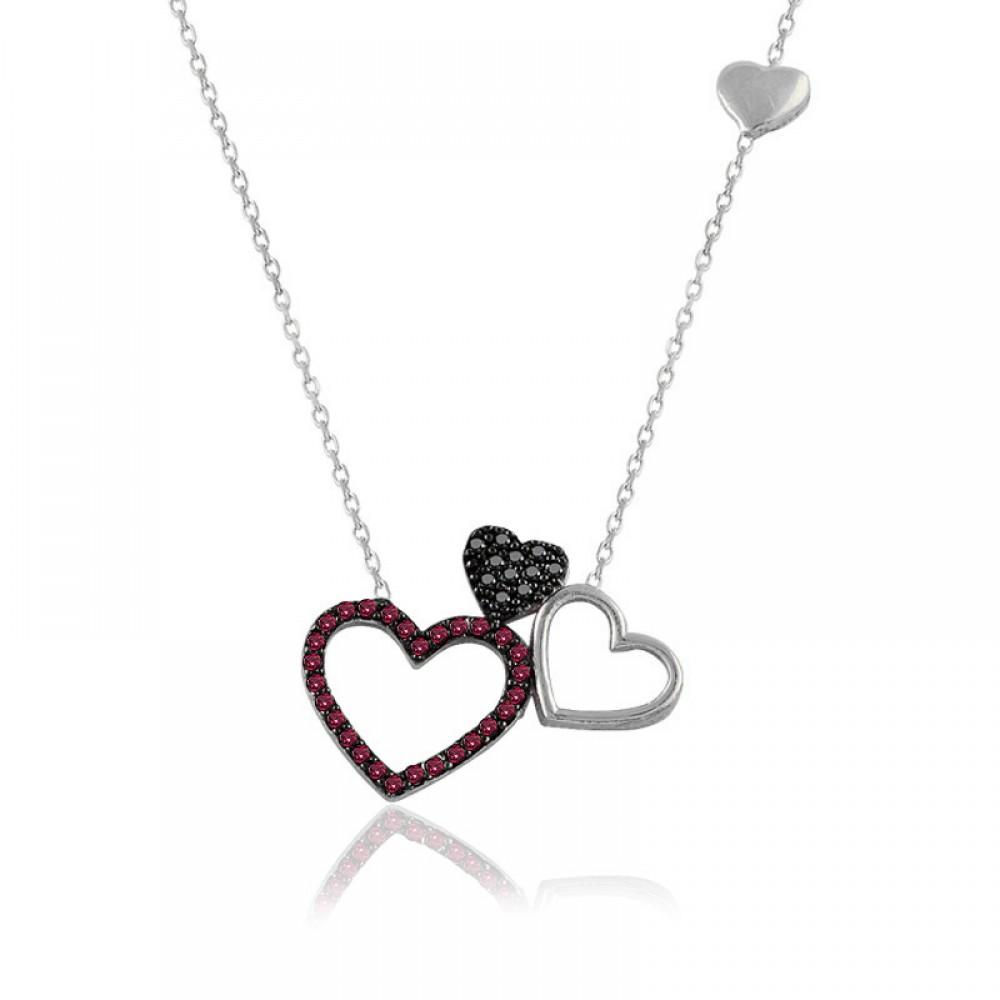 Ruby Taş Beyaz Üçlü Kalp Gümüş Kolye