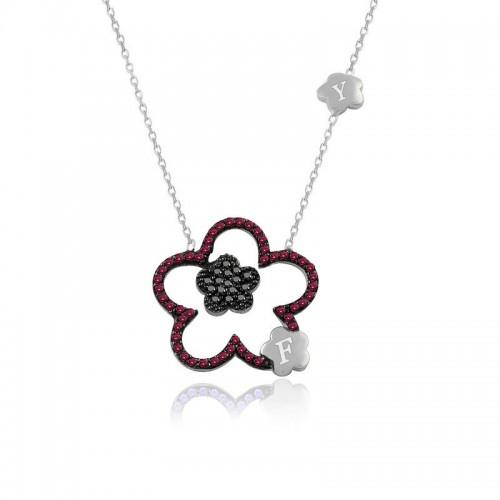 Ruby Taş Kişiye Özel Harfli Çiçek Beyaz Gümüş Kolye