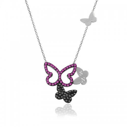 Kişiye Özel Harfli Ruby Üçlü Kelebek Beyaz Gümüş Kolye