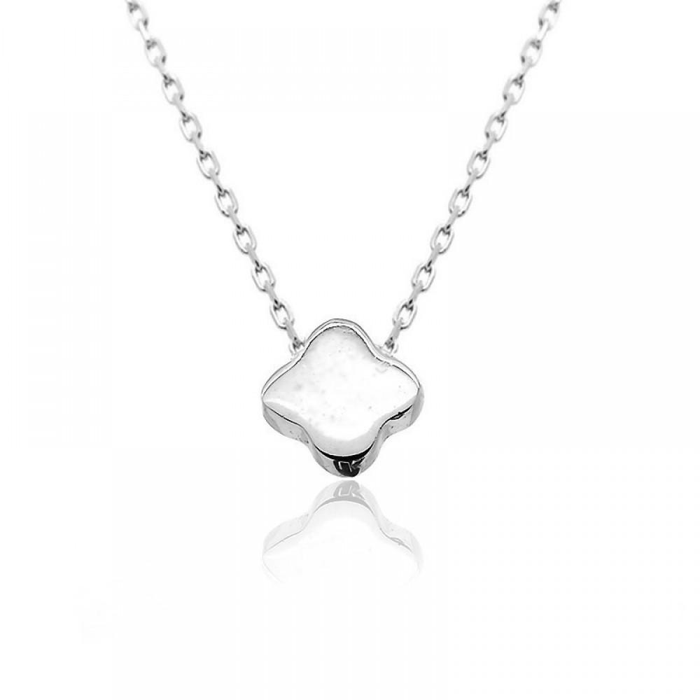Beyaz Parlak Çiçek Gümüş Kolye