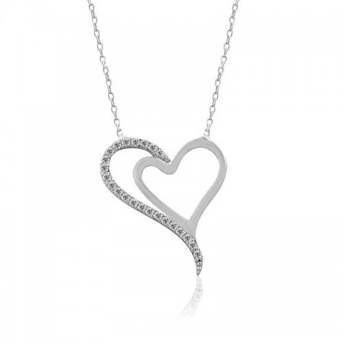 Beyaz İki Kalp Gümüş Kolye