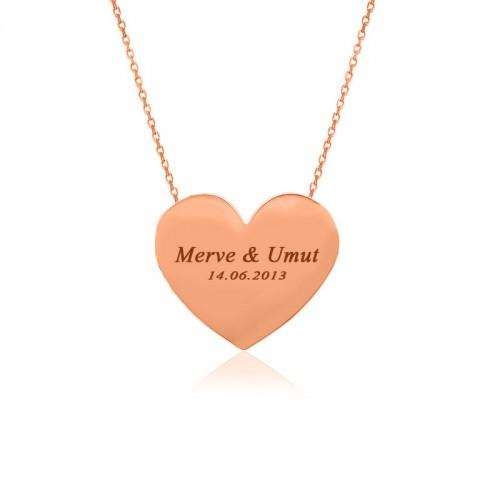 Rose Kişiye Özel İsimli Kalp Plaka Gümüş Kolye