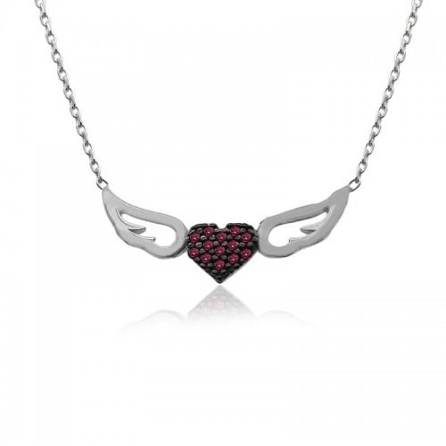 Ruby Taş Kalpli Melek Kanadı Beyaz Gümüş Kolye