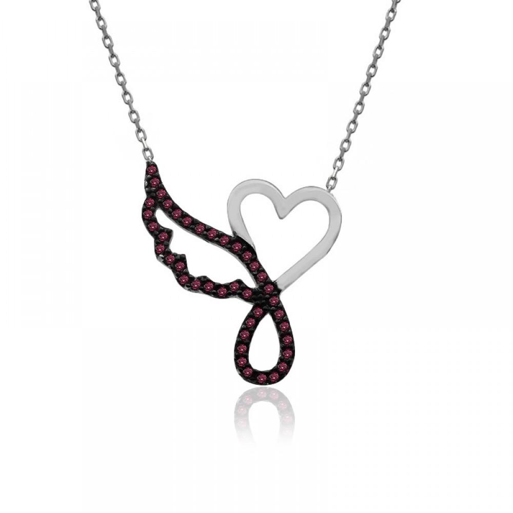 Ruby Taş Kalp Tek Melek Kanadı Beyaz Gümüş Kolye