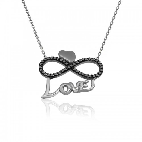 Love Yazılı Kalpli Sonsuzluk Aşk Beyaz Gümüş Kolye