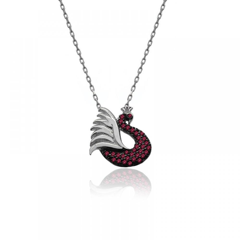 Ruby Taşlı Beyaz Tavus Kuşu Gümüş Kolye