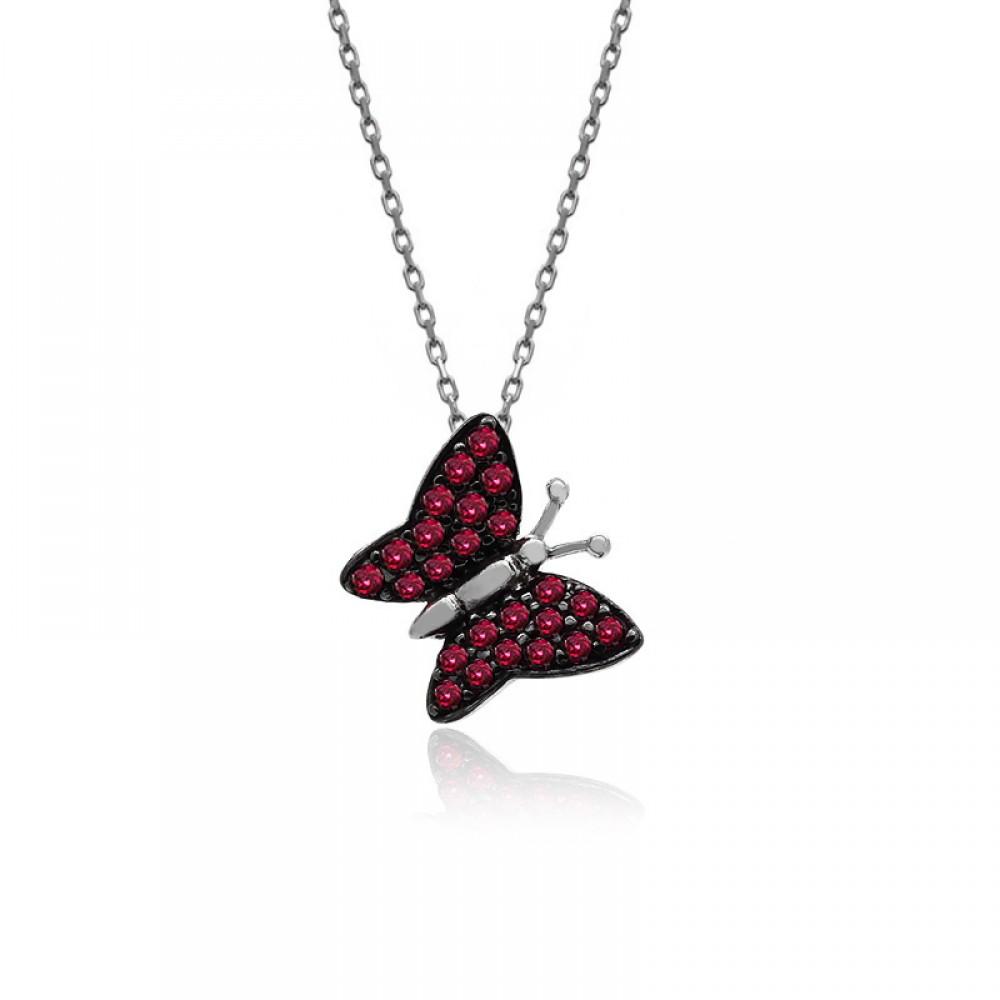 Ruby Taş Beyaz Kelebek Gümüş Kolye