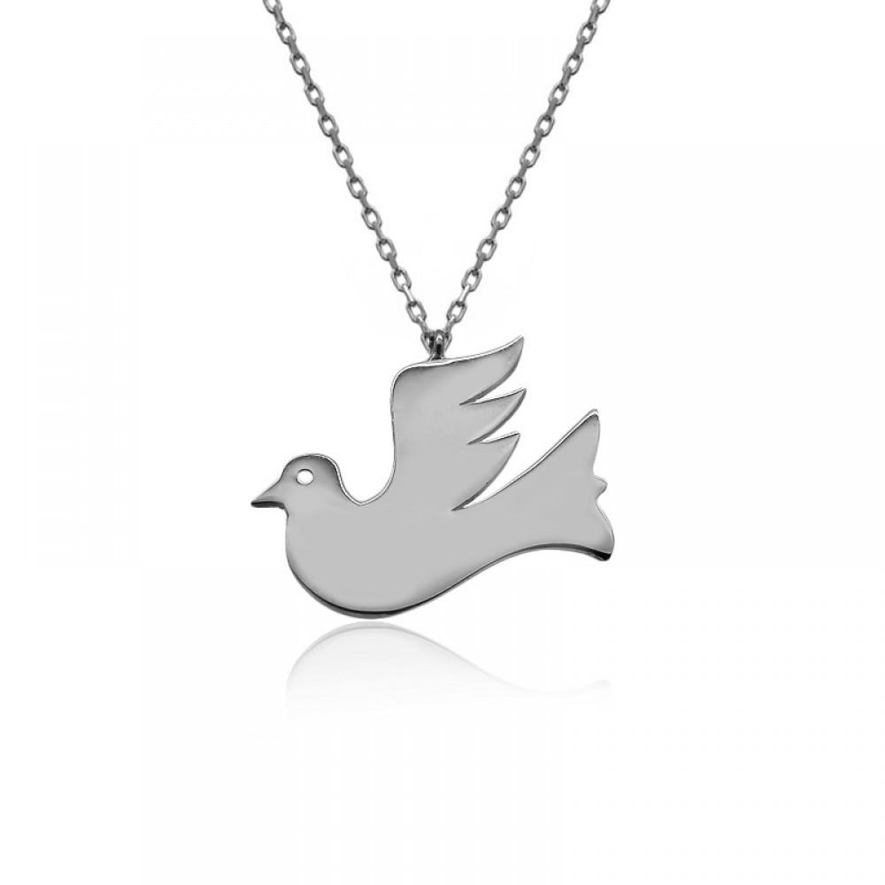 Beyaz Uçan Kuş Plaka Gümüş Kolye
