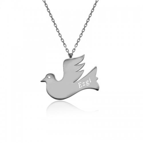 Kişiye Özel İsimli Beyaz Uçan Kuş Plaka Gümüş Kolye