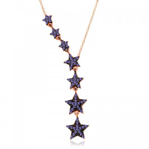 Süzülen Yıldızlar Gümüş Kolye