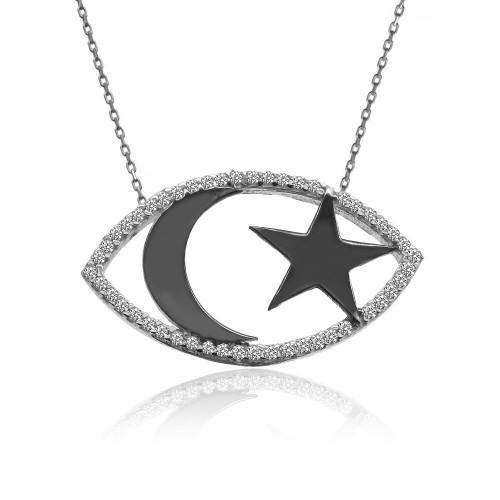 Taşlı Siyah Ay Yıldız Beyaz Gümüş Kolye
