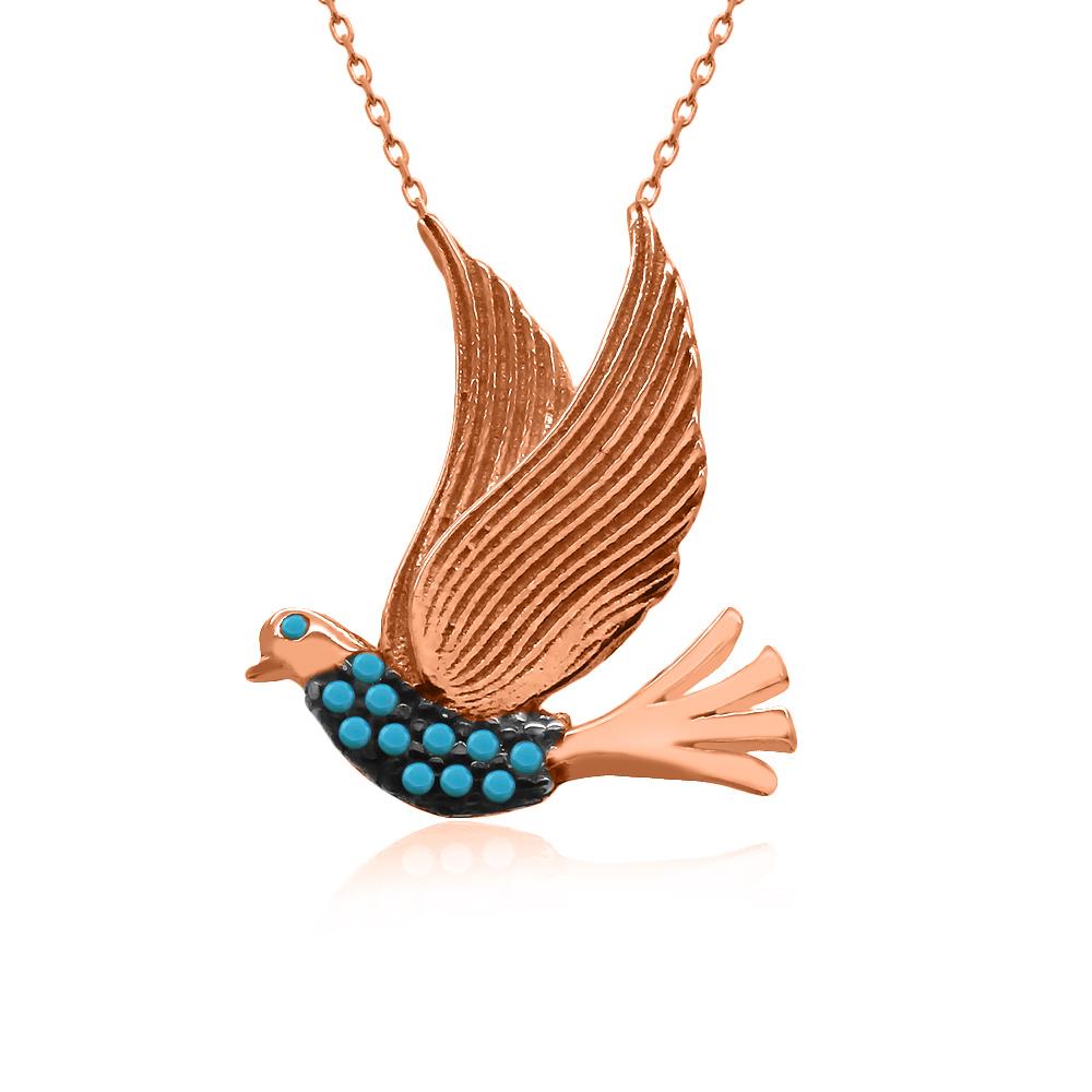 Rose Turkuaz Taş Uçan Kuş Gümüş Kolye
