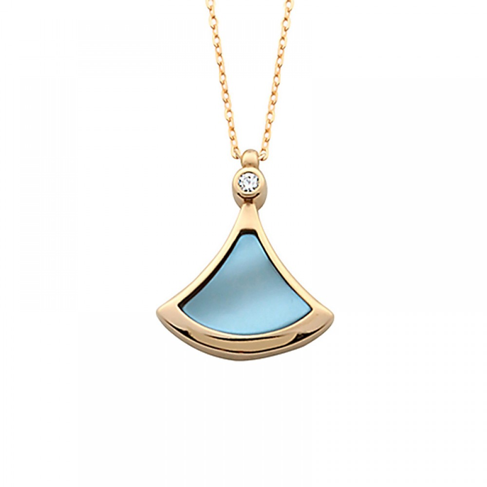 Mavi Sedefli Gümüş Kolye