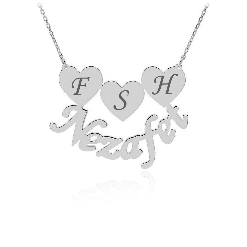 Kalpli İsimli ve Harfli Gümüş Kolye