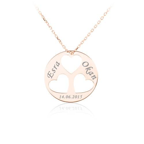 Rose İsimli Üç Kalp Gümüş Kolye