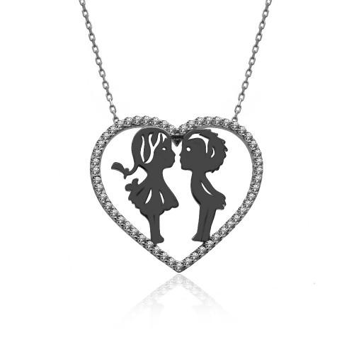 Kalp İçinde Küçük Aşıklar Gümüş Kolye