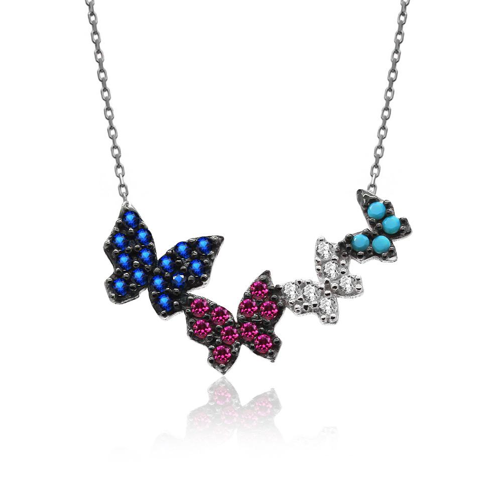 Dörtlü Renkli Kelebekler Beyaz Gümüş Kolye