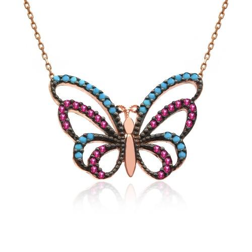 Karışık Renkli Kelebek Gümüş Kolye
