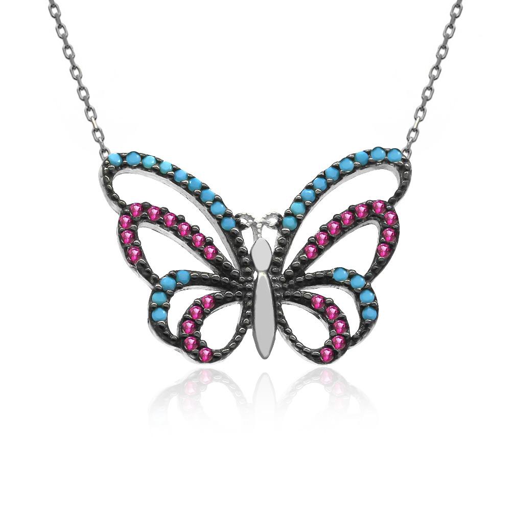 Karışık Renkli Kelebek Beyaz Gümüş Kolye