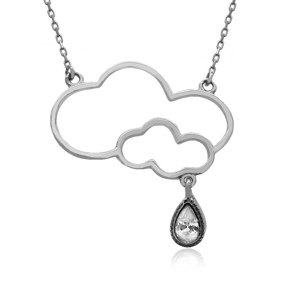 Damla Taşlı Bulut Gümüş Kolye