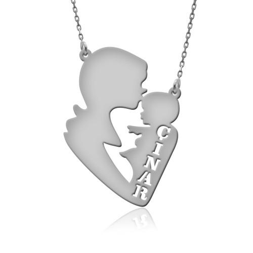 İsimli Anne Bebek Gümüş Kolye