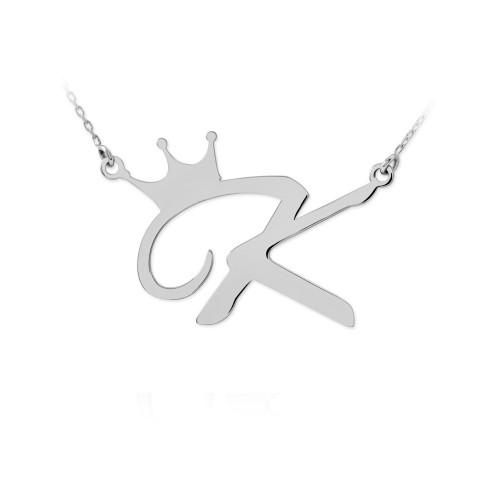 Harfli Kral Tacı Beyaz Gümüş Kolye