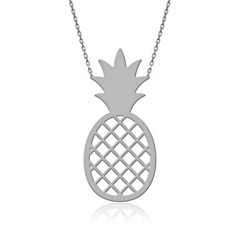 Sade Ananas Gümüş Kolye