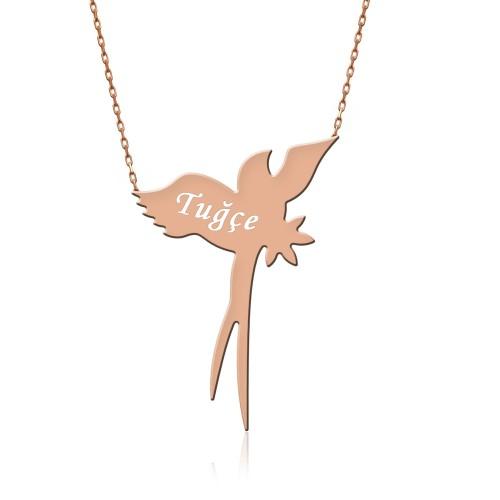 Rose İsimli Uçan Kırlangıç Gümüş Kolye