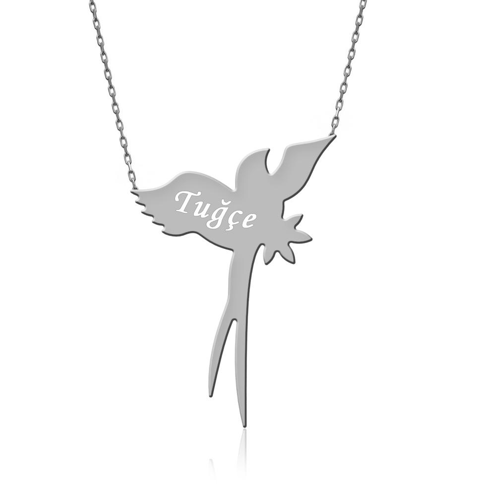 İsimli Uçan Kırlangıç Gümüş Kolye