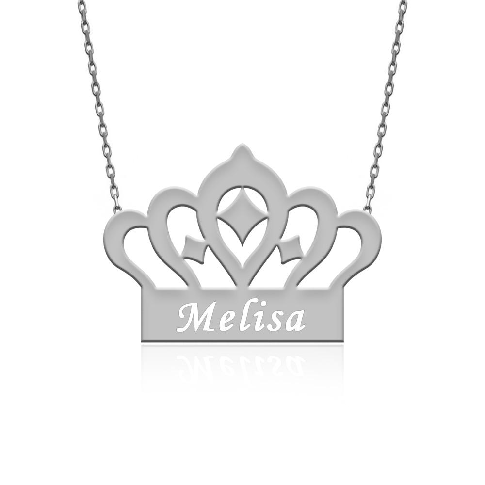 İsimli Kraliçe Tacı Gümüş Kolye