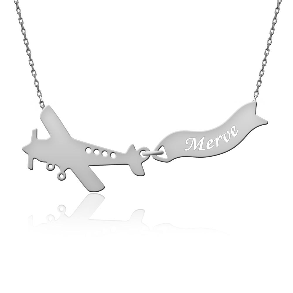 İsimli Uçak Gümüş Kolye