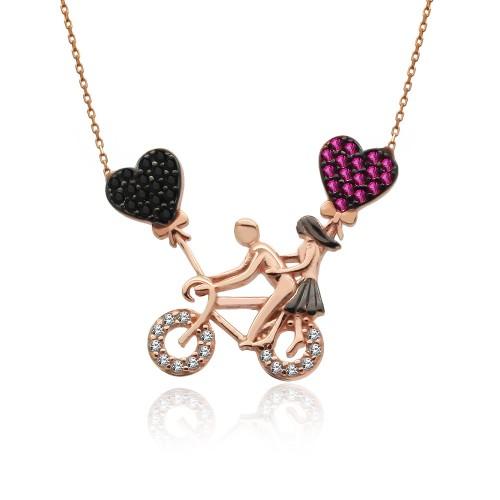 Bisikletli Aşıklar Gümüş Kolye