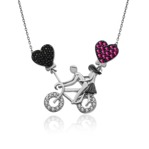 Beyaz Bisikletli Aşıklar Gümüş Kolye