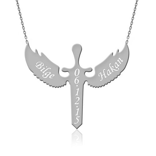 İsimli Mikail Barış Meleği Beyaz Gümüş Kolye