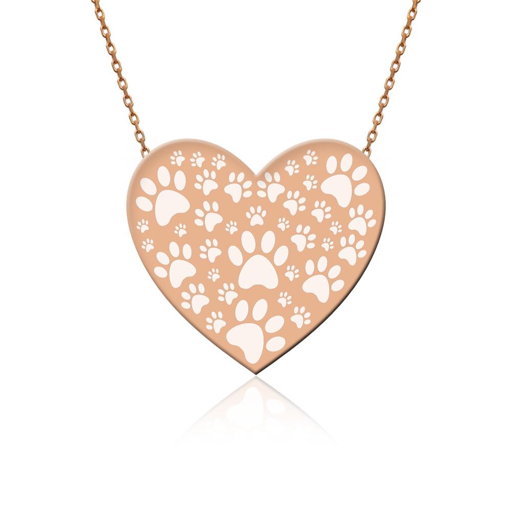 Rose Sade Hayvan Sevgisi Kalp Gümüş Kolye