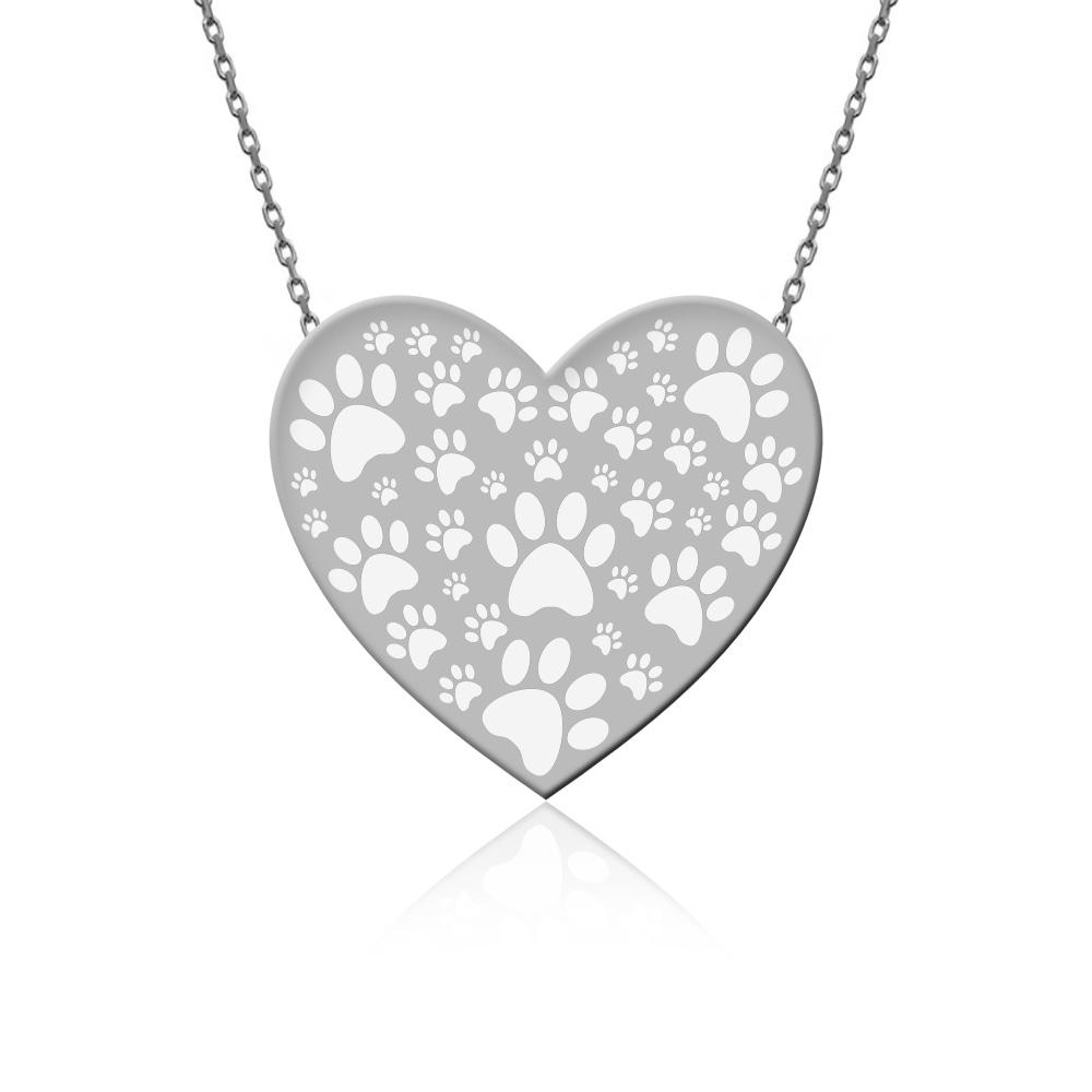 Sade Hayvan Sevgisi Kalp Beyaz Gümüş Kolye