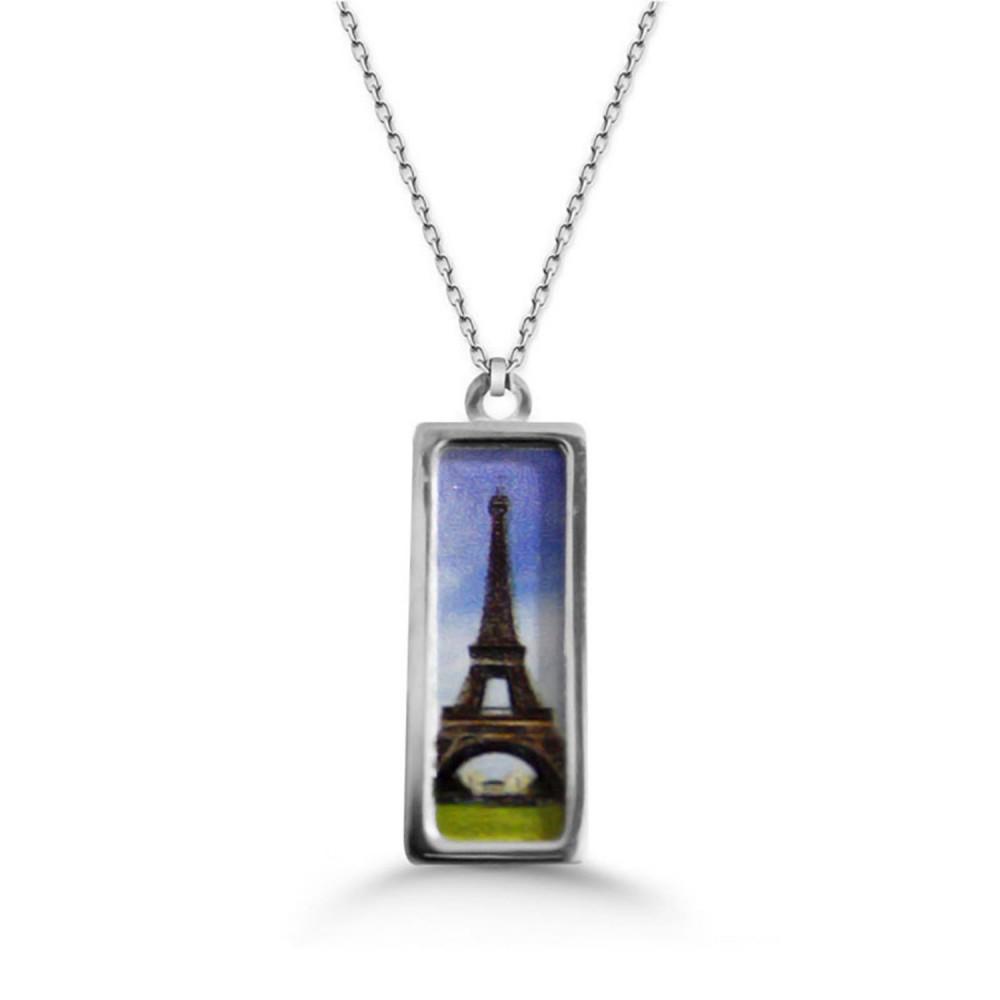 Eyfel Kulesi Özel Baskılı Gümüş Kolye
