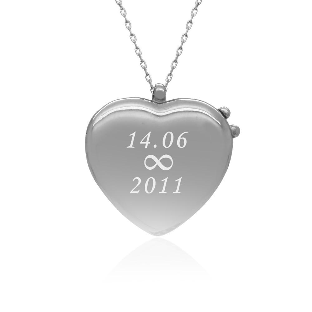 Kişiye Özel Kapaklı Kalp Gümüş Kolye