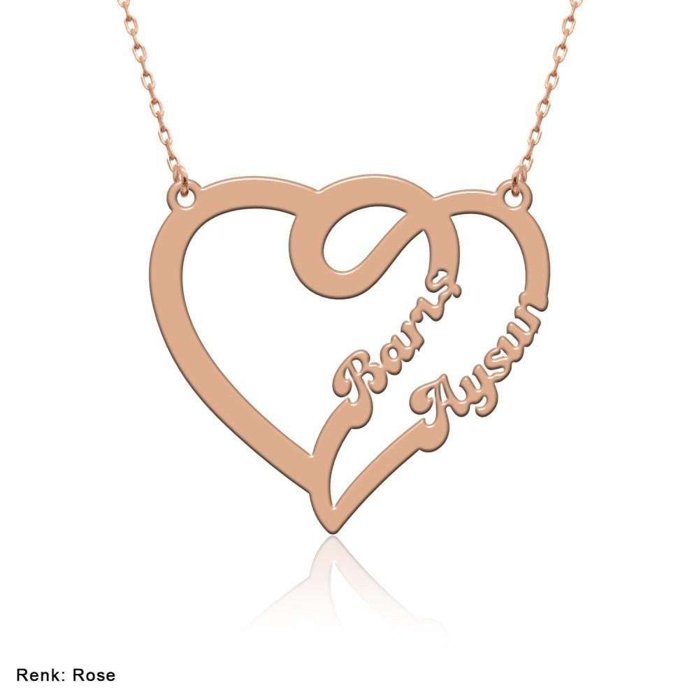 Çift Kalp İsimli Gümüş Kolye