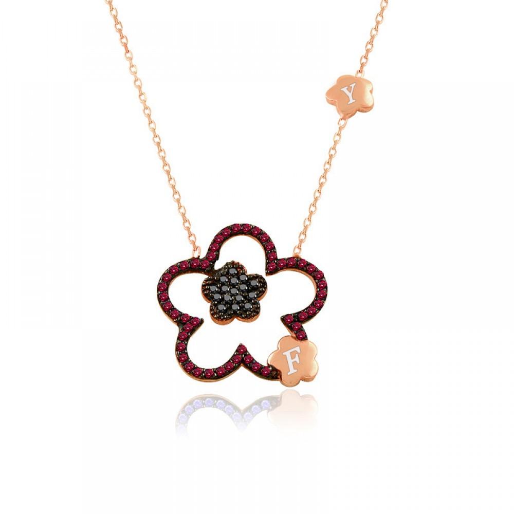 Ruby Taş Kişiye Özel Harfli Çiçek Gümüş Kolye