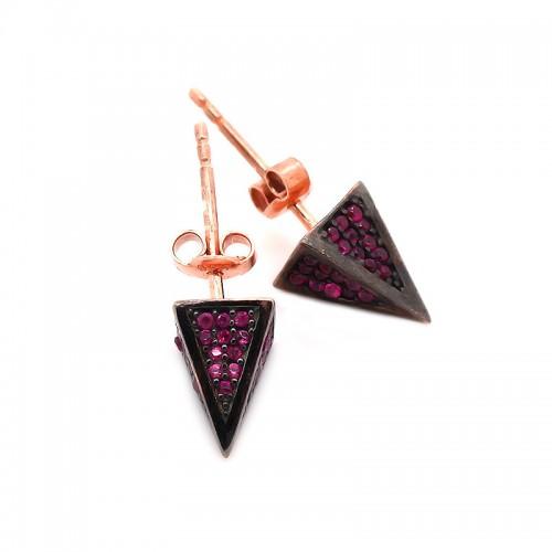 Üçgen Piramit Çivili Gümüş Küpe