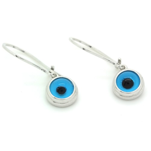 Mavi Nazar Göz Gümüş Küpe